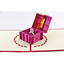 IShareCards Handmade 3D Pop Up Greeting Cards for Valentines,Lovers,Couple's Happy Anniversary Proposal Gifts (Ring Hot Pink Gift Box)