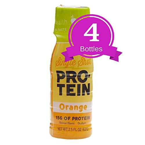 NutriWise - High Protein Diet Drink | Orange Shot | Low Calorie, Fat Free, Sugar Free (4-Pack Bottles)