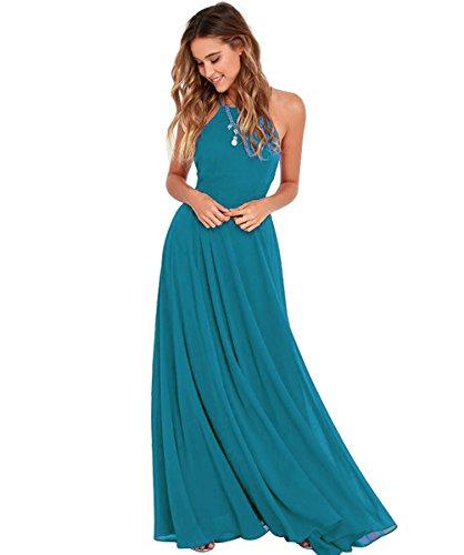 Bild A Als Kleid Brautjungfernkleider Halter Elegantes Linie Grün Abendkleid Langes Damen Rueckenfrei Chiffon EHq7Fw4