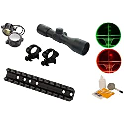 Ultimate Arms Gear Tactical Marlin Rifle Rail Scope Sight Mount + 4x30 Dual Red & Green Illuminated Rangefinder Range Finder Reticle Rifle Hunting Sniper Tactical Scope