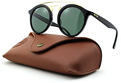 Ray-Ban RB4256 GATSBY Woman Round Sunglasses (Black Frame/Dark Green Lens 601/71, 46)
