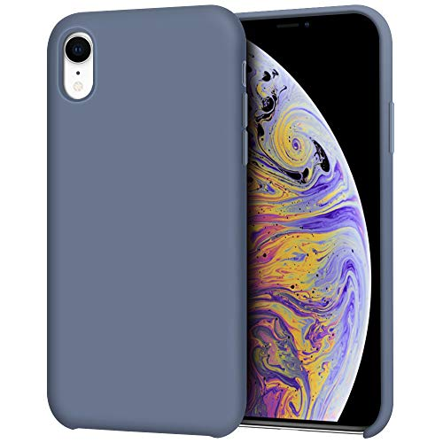 """Anuck iPhone XR Case, Anti-Slip Liquid Silicone Gel Rubber Bumper Case with Soft Microfiber Lining Cushion Slim Hard Shell Shockproof Protective Case Cover for Apple iPhone XR 6.1"""" 2018 - Blue Gray from Anuck"""