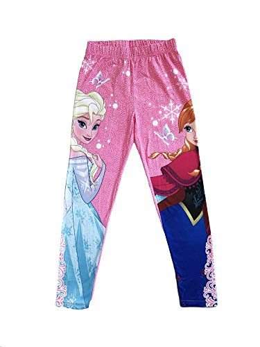Disney Frozen Princess Elsa and Anna Full Length Leggings Tights Yoga Pants for Girl Age Group of 4-8 Years (4 Years, Pink) ()