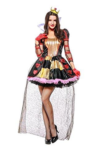 URVIP Women's Heart Queen Fancy Dress up Halloween