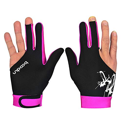 Amaping Spandex Snooker Three-finger Billiard Glove for Billiard Shooters Carom Pool Snooker Cue Sport (L, Hot Pink)