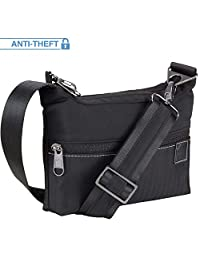 Lewis N. Clark Secura Women's Anti-Theft Sling Messenger Crossbody Bag W/RFID Blocking Pockets Travel Purse, Black, One Size