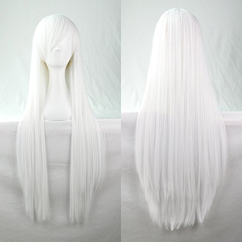 Price comparison product image HLS 80cm Heat Resistant Straight Hair White Color Spiral Cosplay Wigs for Women Girls