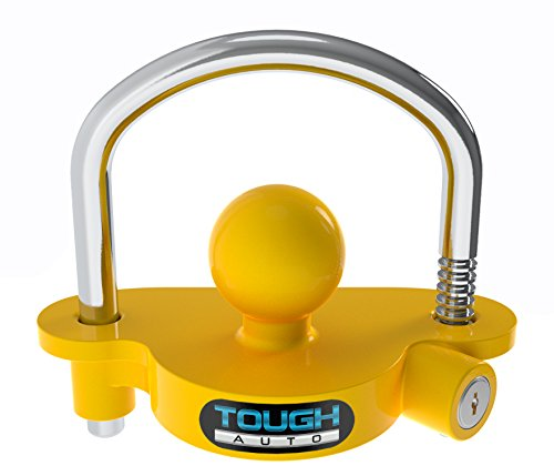 Tough Auto Trailer Hitch Lock Adjustable & Universal Fits All - Heavy Duty Design with Steel and Aluminum Alloy Base - Easy to Install - Fits up to 2' Locks (Yellow)