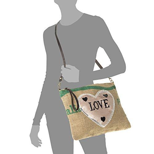 36x30x4cm Auténtica Bandolera Marron detalle Tela Estampado Lentejuelas color Bolso Italy Mujer Made Firenze Mujer bolso Pelle Artegiani In Piel Italiana Vera Arpillera De Rosa Acabado nRAxqXP0