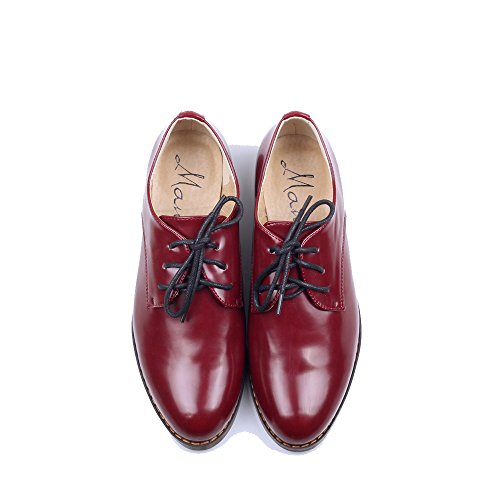 Women's Oxford Patent Faux Leather Dress Shoes (9.5 B(M) US, red)