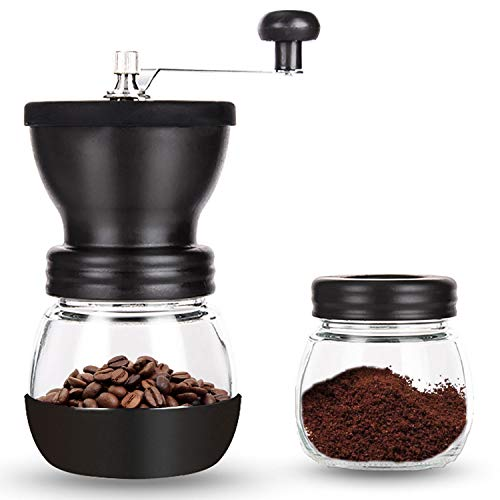 PARACITY Manual Coffee Bean Grinder, Hand Coffee Mill with 2 Glass Jars Ceramic Burr Stainless Steel Handle for…