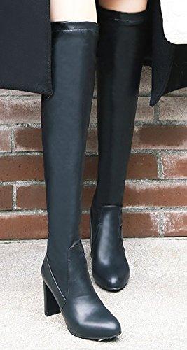 Talon Aisun Longues Chaud Femme Noir Bottes Chunky Neige qvfA4