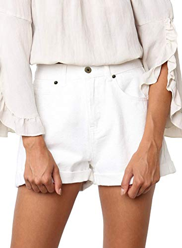 (Dokotoo Womens Fashion Female Vintage Solid Casual Ladies Button High Rise Roll Up Cuffed Jeans Shorts Folded Hem Wash Denim Shorts Pants White Small)