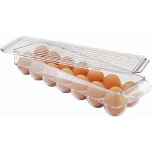 InterDesign Refrigerator Storage Organizer for Kitchen, Covered Egg Holder, 14 Eggs, Clear