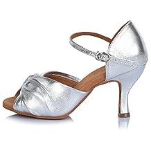 Roymall Women's Leather Latin Dance Shoes Ballroom Salsa Tango Performance Shoes,Model AF810