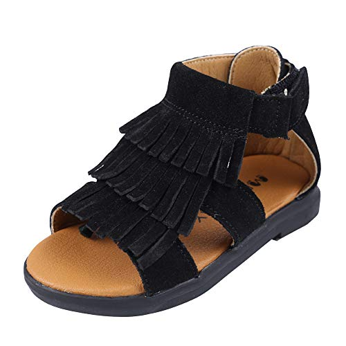 Muy Guay Toddler Girls Sandals Genuine Leather Kid Girls Sandals Black Tassels Summer Flats Walking Shoes with Non Slip Rubber Sole (Toddler 6.5 M(Insole Length 5.31in), Black)    -