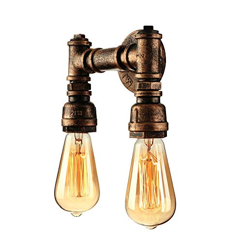 BAYCHEER Industrial Retro Vintage Style 5.9'' H Double Light Bronze Finished Water Pipe Wall Light lamp Wall Sconce use E26/27 Bulb