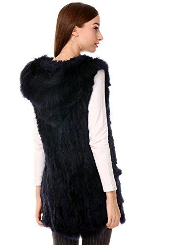 Ferand ärmellose lange Damen Weste Jacke mit Kapuze aus gestricktem ...