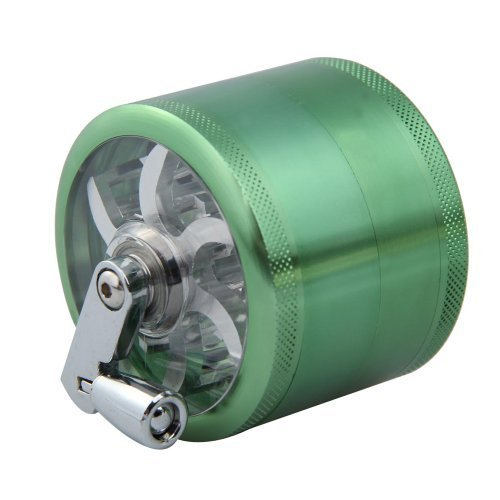 Vktech 4 Layers Alloy Hand Crank Herbal Herb Tobacco Grinder Spice Crusher Green by Vktech (Image #1)