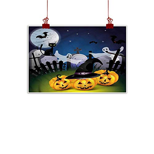 Mangooly Wall Art Painting Print Halloween,Pumpkins Witches Hat Moon 36