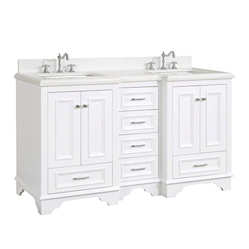 Nantucket 60-inch Double Bathroom Vanity (Quartz/White): Includes White Cabinet with Soft Close Drawers, Quartz Countertop, and Two Ceramic Sinks by Kitchen Bath Collection