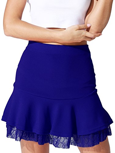 Womens Misses Corduroy Skirt (JayJay Women Basic Stretchy Flared Skater Lace Mini Skirt,Royalblue,2XL)