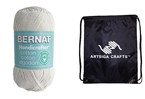 Handicrafter Cotton Stripes (Bernat Handicrafter Cotton Yarn Solids (1-Pack) Off White 162027-00002 with 1 Artsiga Crafts Project Bag)