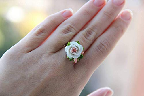 (rose ring, cold porcelain, flower ring, gift ring, flower jewelery, rose jewellery, engagement ring, graduation jewelery, rustic ring, rose accessory)