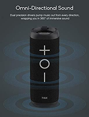 Tribit X-Boom Bluetooth Speaker - 24W Portable Speaker, 360° Full Surround Sound, Enhanced Bass, Wireless Dual Pairing, IPX7 Waterproof, 20-Hour Playtime, 66ft Bluetooth Range Outdoor Wireless Speaker