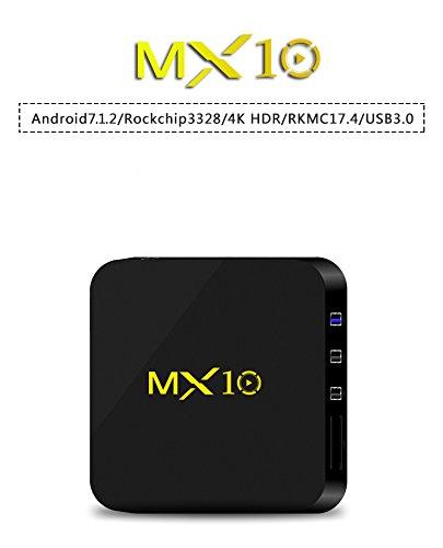 MX10 Rockchip RK3328 4GB RAM 32GB ROM Quad-Core 64-Bit Android 7.1.2 USB 3.0 WiFi 4K FHD UHD Smart Media Player by JVOMI