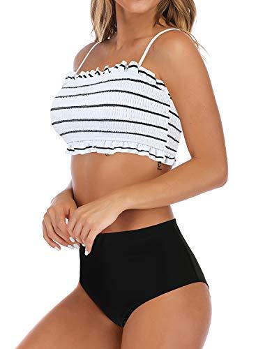 MOSHENGQI Women's Bandeau Ruffled Bikini Set Off Shoulder Smocked Swimsuiit Bathing Suit(XL(US Size 16-18),White-Floral)