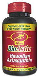 Nutrex Hawaii BioAstin Natural Astaxanthin 4mgs., 120 gel caps (Pack of 2)