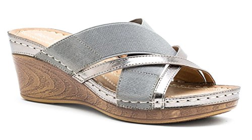 Women's Rosette Shoes Sandals Sn Wedge Slide Sydney Grey Gc A7qwxHA