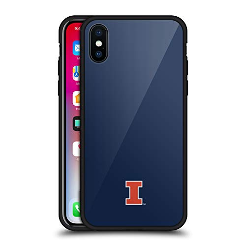 Official University of Illinois U of I Fighting Illini Black Hybrid Glass Back Case Compatible for iPhone X/iPhone Xs