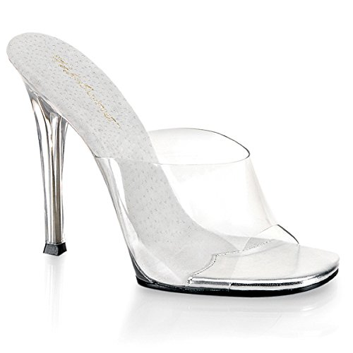 Womens 5 Inch Sexy High Heel Shoes Stiletto Heel Slip On Slides Clear Sandals Size: 9 (5 Inch Heel Sandal)