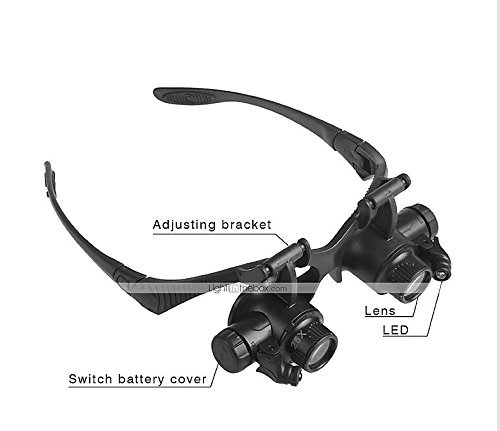 Double Eye Watch Repair Magnifier Loupe LED Light Jeweler Magnifying Glasses Tool Set with 8 Lens 10X 15X 20X 25X by OUKU (Image #3)