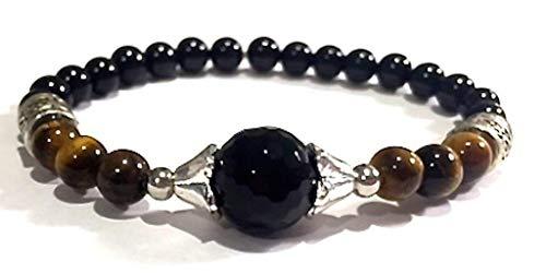 Handmade Black Onyx, Black Tourmaline and Tigers Eye Healing Bracelet 7 Inches
