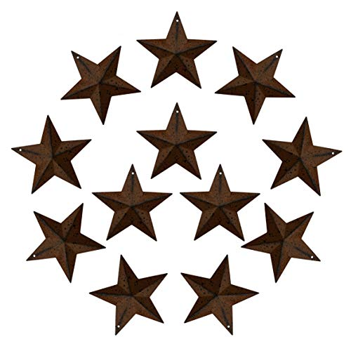 CVHOMEDECO. Primitives Rustic Antique Vintage Gifts Rusty/Black Metal Barn Star Wall/Door Decor, 3-Inch, Set of 12. ()