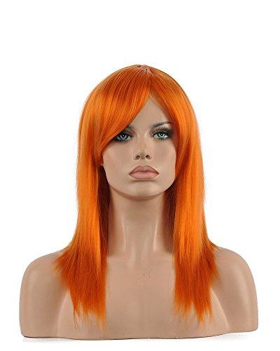 Orange Wig (Kalyss women's Shoulder Lenght Straight Sliver Gray Heat Resistant Synthetic Hair Wig (Orange))