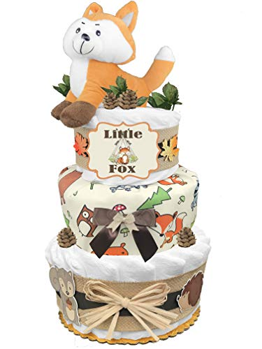 Fox 3-Tier Diaper Cake - Baby Shower Gift for a Boy - Newborn Gift Idea ()