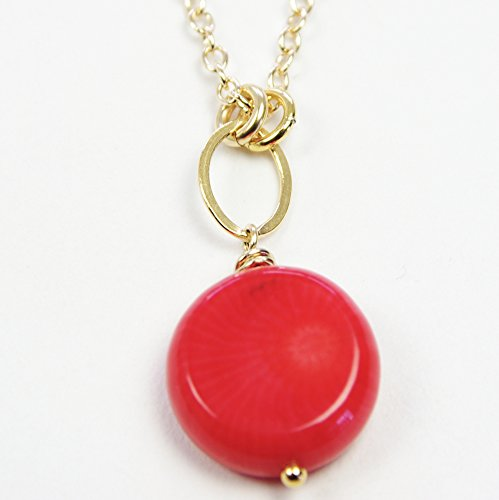 Red Coral Necklace Classic Small Pendant Delicate 14kt Gold Filled Chain 35th Wedding Anniversary by Jewelry Design By SS