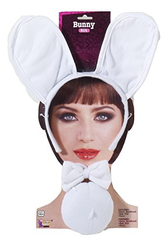 Forum Novelties Women's Bunny Accessory Kit, White/Pink, One (Bunny Ears And Tail For Halloween)