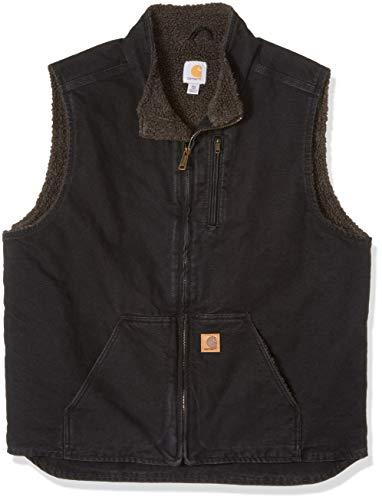 (Carhartt Men's Big and Tall Big & Tall Mock Neck Vest Sherpa Lined Sandstone V33, Black, Large)
