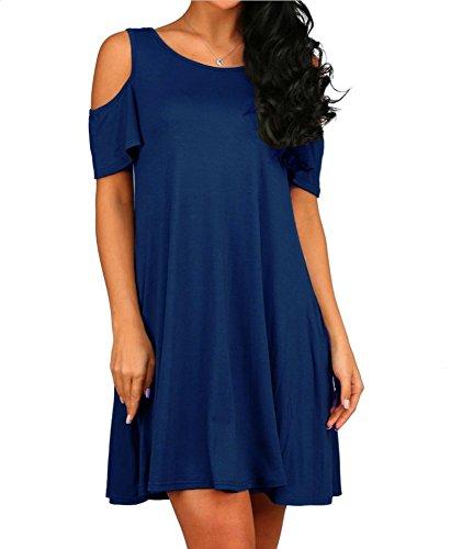 HAOMEILI Women's Casual Plain Flowy Simple Swing T-Shirt Loose Dress M Navy Blue