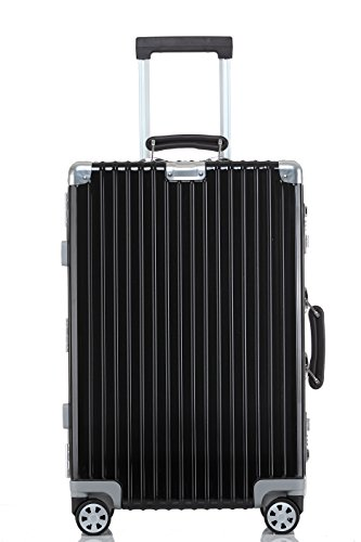 Lightweight Luggage, Clothink Aluminum Frame Spinner Modern Hardside Travel Suitcase 28 Inch, Black by Clothink