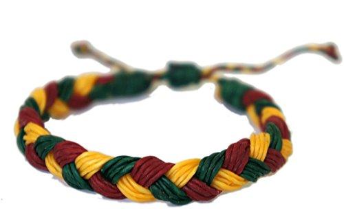 Cord Hemp Hippie (Rasta Hippie Braid Bracelet Wax Cord Hemp Handmade Reggae Jamaican Hawaiien Style)