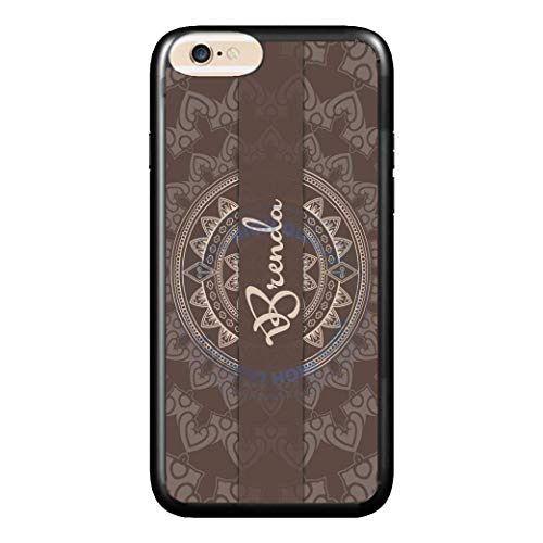 BRGiftShop Personalized Custom Name Damask Natural Brown And Cream Print Rubber Phone Case For Apple iPhone 6 Plus & iPhone 6s Plus (5.5 Inches Screen)