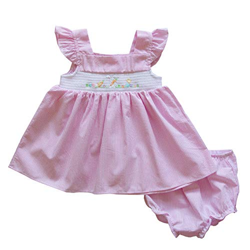 - Good Lad Newborn/Infant Girls Pink Seersucker Bunny Smocked Embroidered Easter Dress (3/6M)