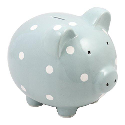 Baby Blue Pig (Beriwinkle Ceramic Large Pig Bank - Blue and White Polka Dots)