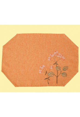 Tablecloth - orange - varicoloured embroidery flowers (Of O12 Days Christmas)